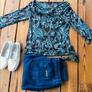 Chocolate and Turquoise Paisley Top-M